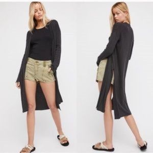 Free People Ribby Rib Black Duster Cardigan